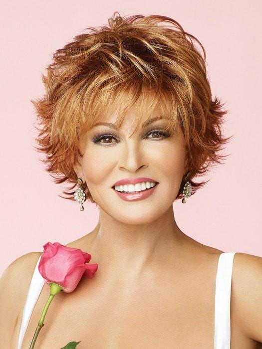VOLTAGE WIG by RAQUEL WELCH in R28S+ GLAZED FIRE Fiery Red with Bright Red Highlight on Top