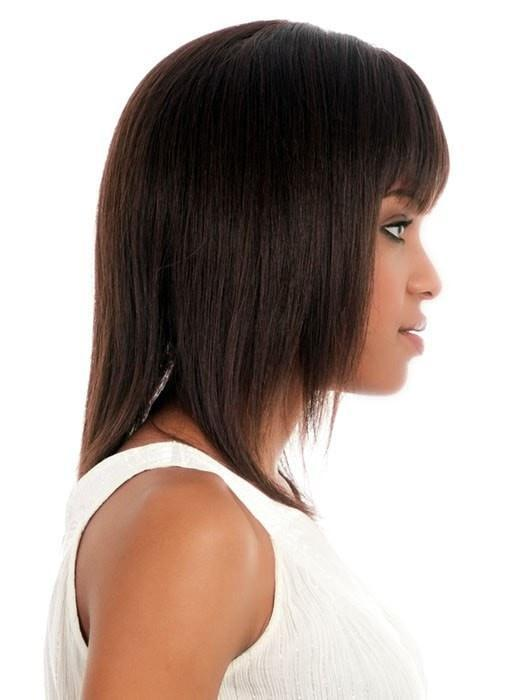 H-202 by Vivica Fox | African American Human Hair Wig with Center Skin Part