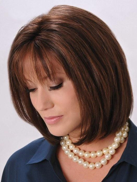 Your stylist can trim the bang to go straight across | Color: Camel Brown