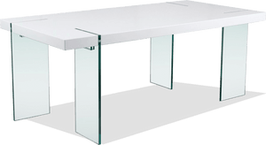 Ds 0776 Floating White Gloss Dining Table With Glass Legs Acumen