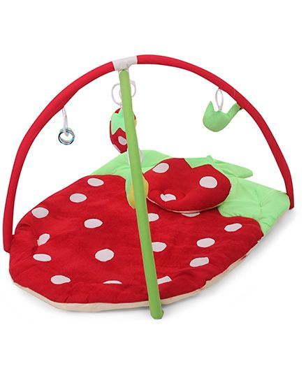 Babyhug Play Gym With Strawberry Cut & Mosquito Net - Red color.