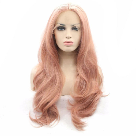 Gold Pink Nature Wave Synthetic Lace Front Wigs
