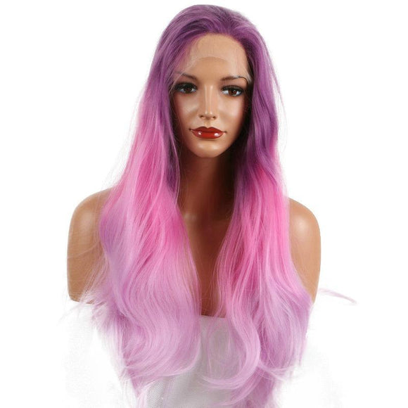 Three Tone Dark Purple Synthetic Lace Front Wigs