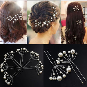 Crystal Pearl Flower Hairpins 5pcs Set