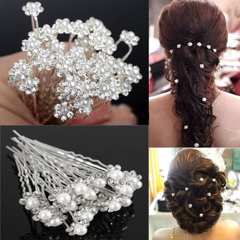 20Pcs Crystal Pearl Flower Bridal Hairpins