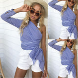 One Shoulder Striped Shirt 49574-blue-s $ 16.99 $ 16.99 $ 17.99 Tops Apparel Glimmer and Hair  Glimmer and Hair