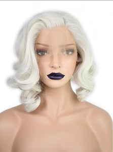 Short Bob White Blonde Synthetic Lace Front Wigs