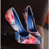 Retro Floral Print Thin Heels Shoes