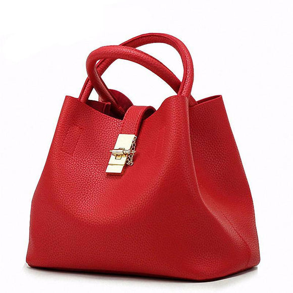 Bucket Leather Tote Handbag