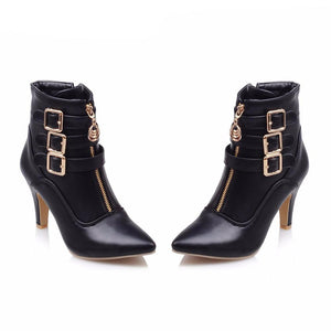 Pointed Toe Side Buckle Boots