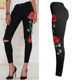 Black Floral Denim Pants