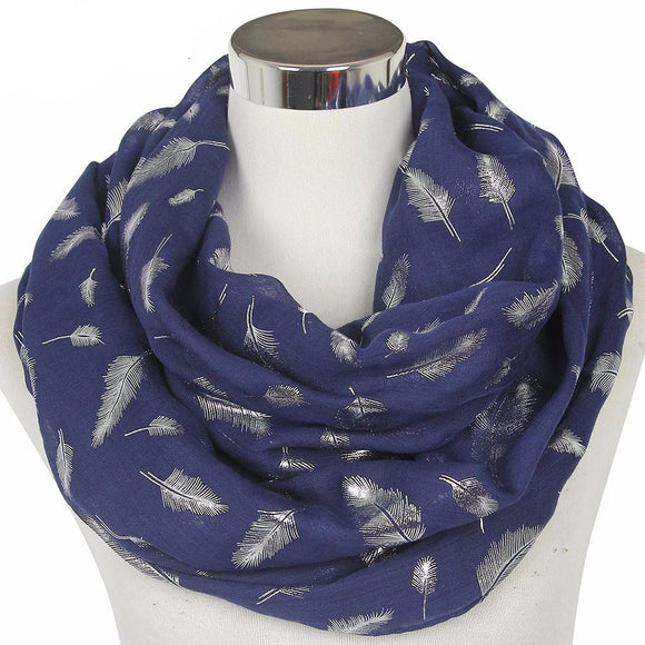 Feather Infinity Scarves 4501151-navy-blue $ 13.99 $ 12.99 $ 13.99 Scarves Accessories Glimmer and Hair  Glimmer and Hair