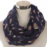 Feather Infinity Scarves 4501151-navy-gold $ 13.99 $ 12.99 $ 13.99 Scarves Accessories Glimmer and Hair  Glimmer and Hair