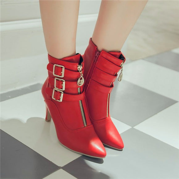Pointed Toe Side Buckle Boots 1714719-red-4 $ 36.99 $ 36.99 $ 44.99 Boots Shoes Glimmer and Hair  Glimmer and Hair