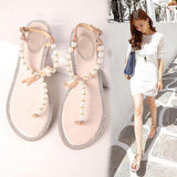 Bow Diamond Pearl Flat Sandals