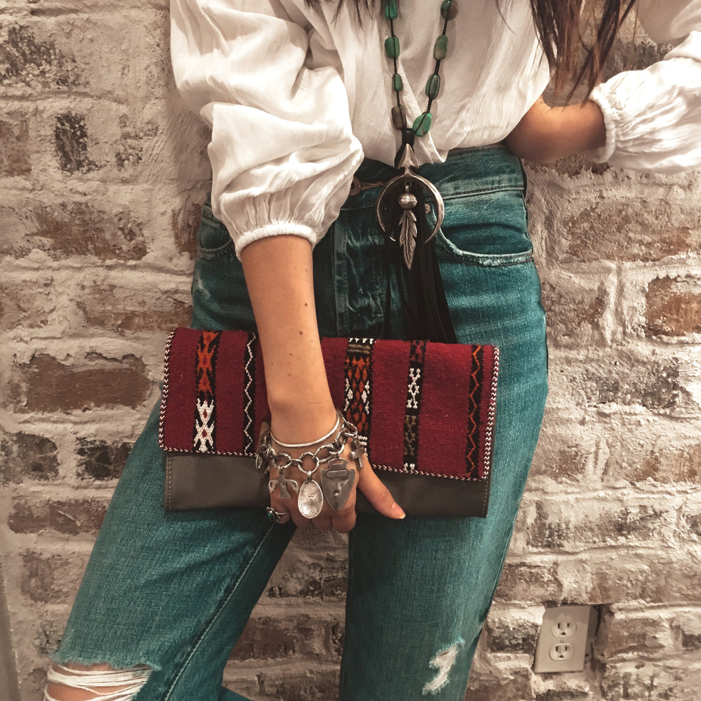 Leather Carpet Clutch