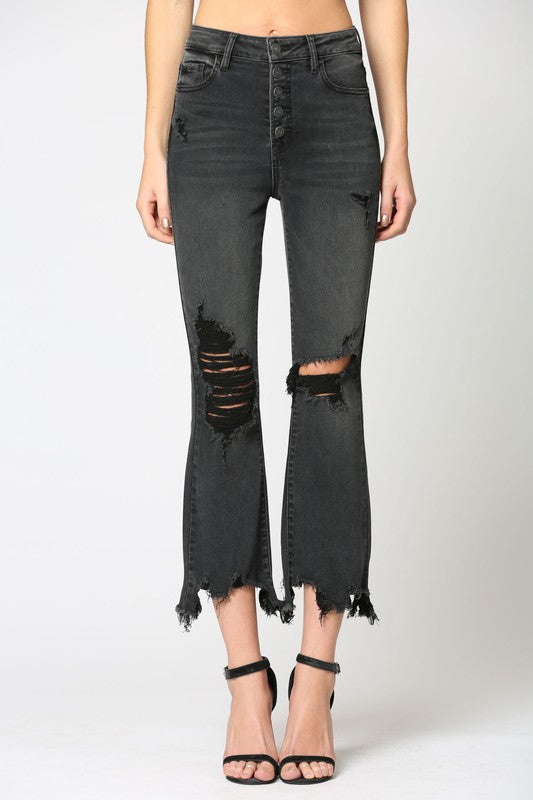 High Rise Distressed Button Frayed Jeans