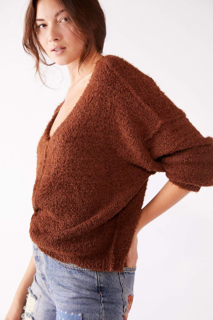 Free People Mocha Icing V Neck Pullover
