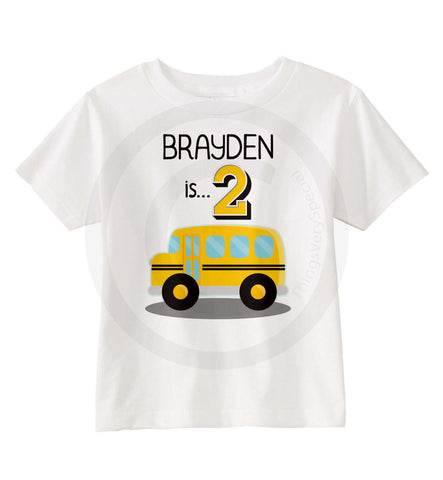 School Bus Birthday shirt for boys, 2nd birthday shirt