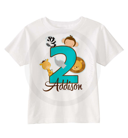Girls Safari Theme Birthday Shirt For Second Personalized
