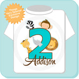 Girl's Safari Theme Birthday Shirt for Second Birthday, Personalized 01052016c