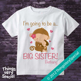 Big Sister Monkey Shirt Personalized short or long sleeve