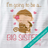 Big Sister Monkey Shirt Personalized short or long sleeve with baby boy monkey