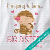 Big Sister Monkey Shirt Personalized short or long sleeve with unknown gender monkey