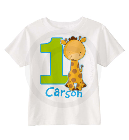 Boy's First Birthday Shirt with Giraffe