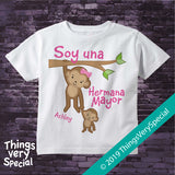 Monkey Big Sister Shirt in Spanish, Hermana Mayor, short or long sleeve 01072019c