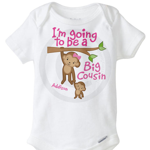 Girl's Big Cousin Onesie with Monkeys