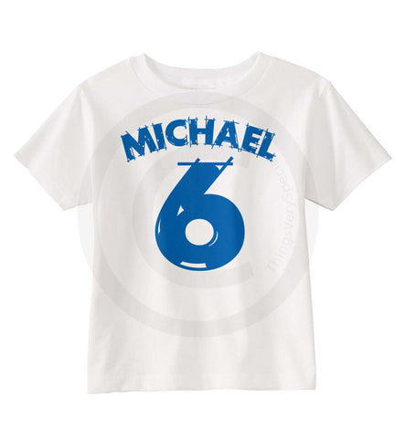 Boys Birthday Shirt For 6 Year Old Boy With Blue Number And Name