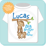 Personalized Big Brother to Twins Monkey Shirt with twin Baby Monkeys, Pregnancy Announcement 01092014b