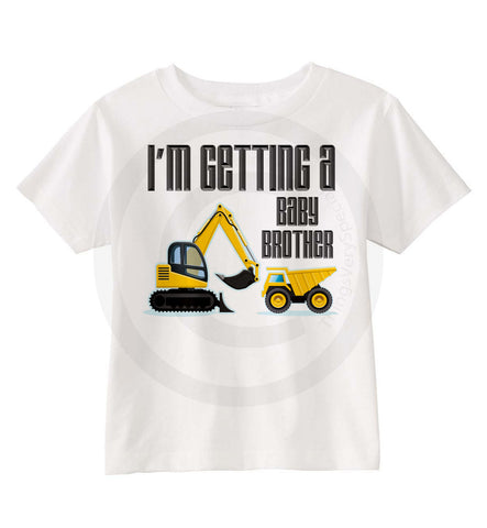 I'm Getting A Baby Brother Shirt with Construction Theme