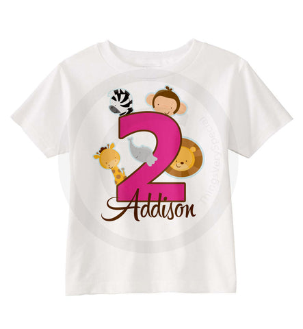 Jungle Theme Birthday Shirt for 2 Year Old Girl