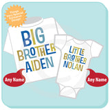 Set of Two Big Brother Little Brother Shirt or Onesie set of 2, Personalized 01162012b