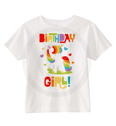 Rainbow Unicorn Birthday Girl Shirt