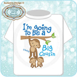 Boy's Big Cousin of Twins Tee Shirt with cute monkeys in infant youth and toddler sizes