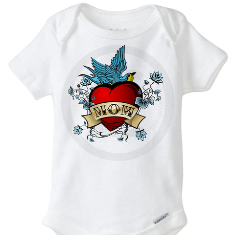 Mom Tattoo Baby Onesie Bodysuit