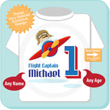 Airplane Pilot Birthday tee shirt for Boys with name and age, 1st Birthday gift 01182016a