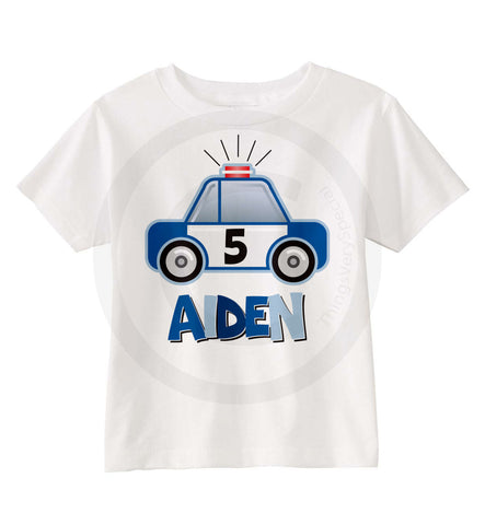 Police Car Boy's Birthday shirt for 5 year old
