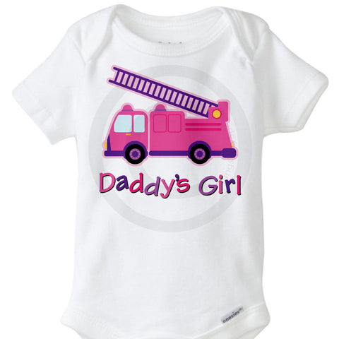 Daddy's Little Girl Onesie Bodysuit with Pink Fire Truck