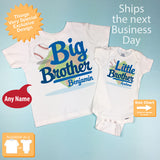 Set of 2, Big Brother and Little Brother Shirt and Onesie - Personalized Matching Sibling Baseball Theme shirts - Set of 2 - 01212016e