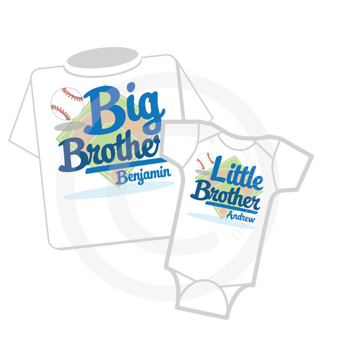 Baseball Big Brother Little Brother Matching shirt and Onesie Set