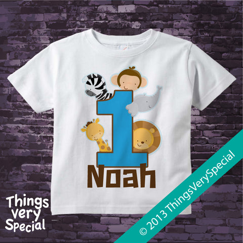 Jungle Birthday t-shirt for boys personalized short or long sleeve