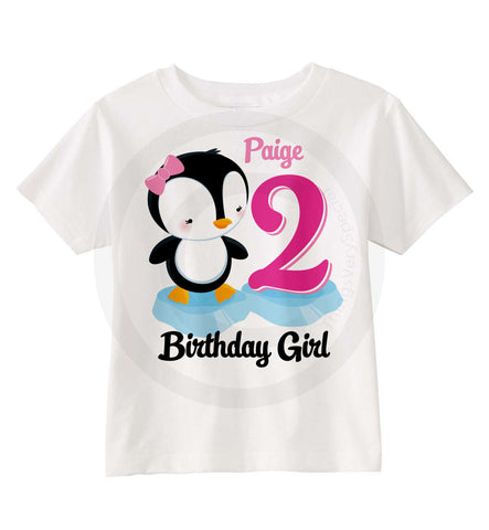 Penguin Birthday Shirt for 2 year old birthday girl