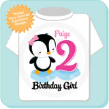 Girl's Second Birthday Penguin Shirt, Personalized with her name and age 01222014d