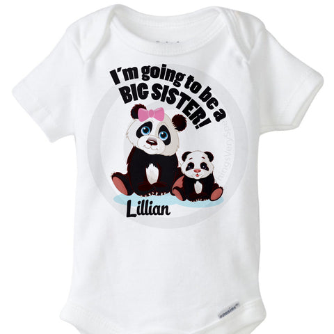 Panda bear I'm going to be a Big Sister Onesie Bodysuit | 01272012a ThingsVerySpecial