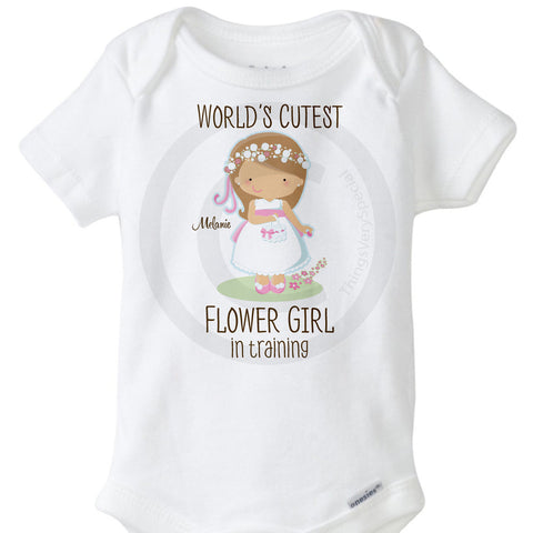 Flower Girl In Training with Light Brown Hair Onesie Bodysuit