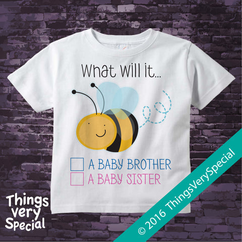 Gender Reveal Shirt or Onesie Bodysuit - What will it Bee Gender Reveal Shirt 01272016j